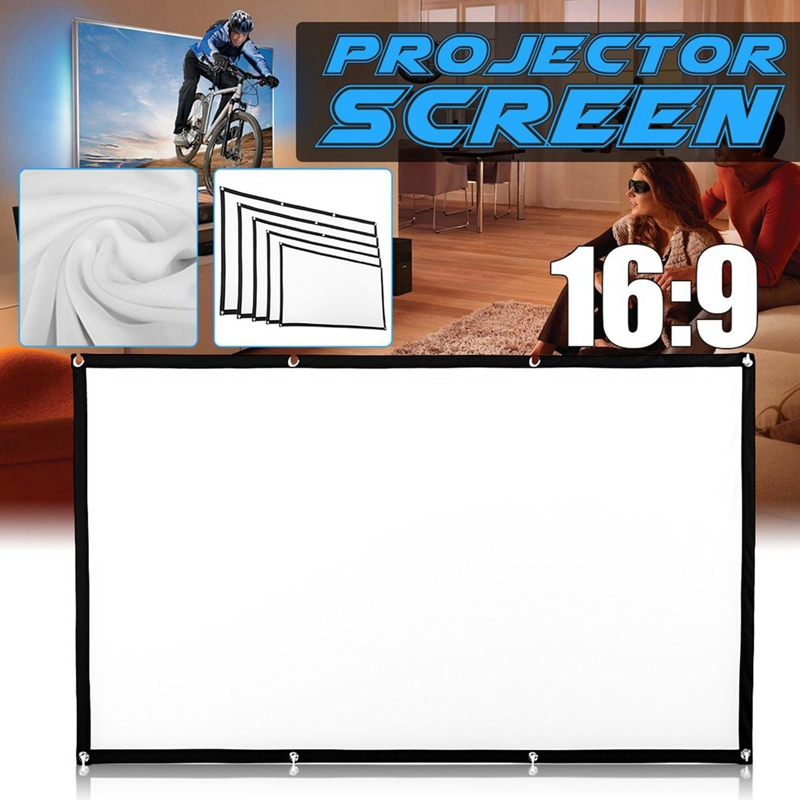 Portable Foldable Movie <font><b>Projector</b></font> <font><b>Screen</b></font> 16:9 Projection HD Home Theater <font><b>Screen</b></font> Cloth <font><b>150</b></font> <font><b>inch</b></font> for Party Meeting Public Display image