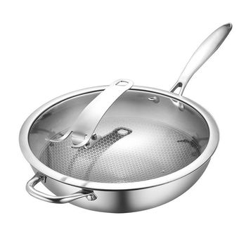 Wok Stainless Steel Uncoated Non-stick Wok Pan Gas Induction Cooker Household Pot Cooking Pot  Kitchen Pots and Pans Kitchen