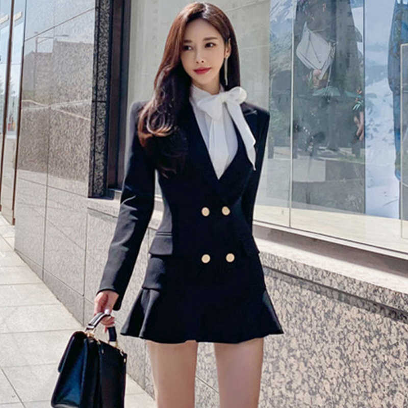 H Hàn Nữ Hoàng Nữ 2019 Thu Đông 2 Mặt Phù Hợp Với Đầm OL Xù Bodycon Áo Trang Bị Thanh Lịch Làm Việc Mặc Vestidos