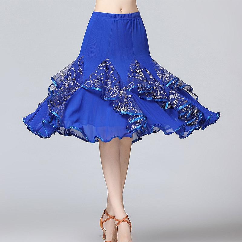 Image 5 - New Ballroom Dance Skirts Women Latin Tango Modern Dancing Skirts National Standard Waltz Flamenco Competition Dance DressBallroom   -