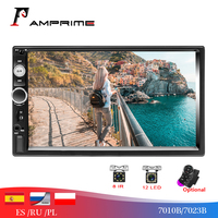 AMPrime 2 Din Autoradio 7 Touch Screen Car Radio Player Bluetooth SD/MP4/USB/AUX/ Multimedia 2din Car Audio Rear View Camera