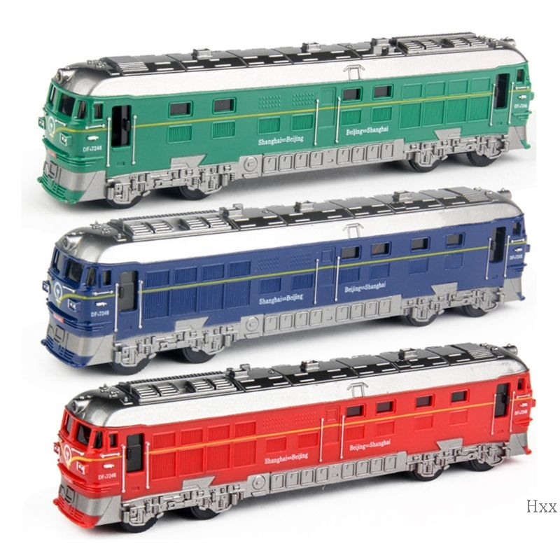 New 1:87 Simulated Alloy Train Locomotive Model Pull Back Vehicle Toy Sound Lights