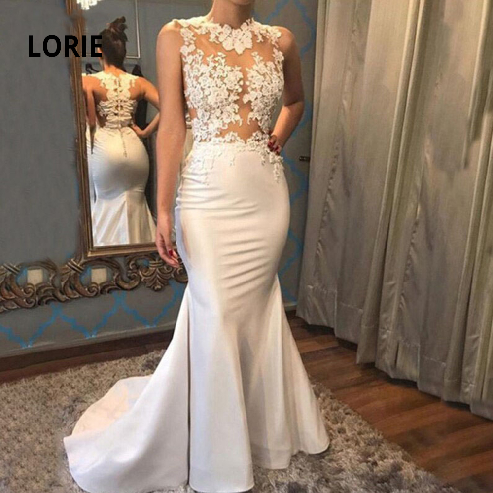 LORIE Elegant Lace Appliqued Wedding Dress Mermaid 2020 Illusion Soft Satin Princess Beach Bridal Gowns Arabic Marriage