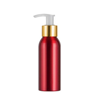 20pcs/lot 100ml Red Aluminum Shampoo Lotion Pump Bottle Empty Cosmetic Refillable Hand Lotion Pump Container Empty Travel Bottle
