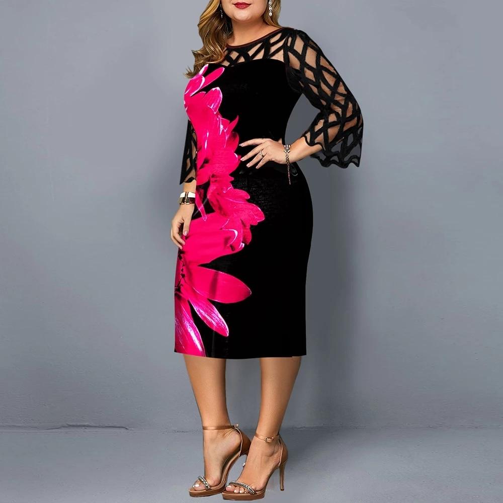 Plus Size Women's Summer Dress 2021 Autumn Elegant Floral Print Casual Party