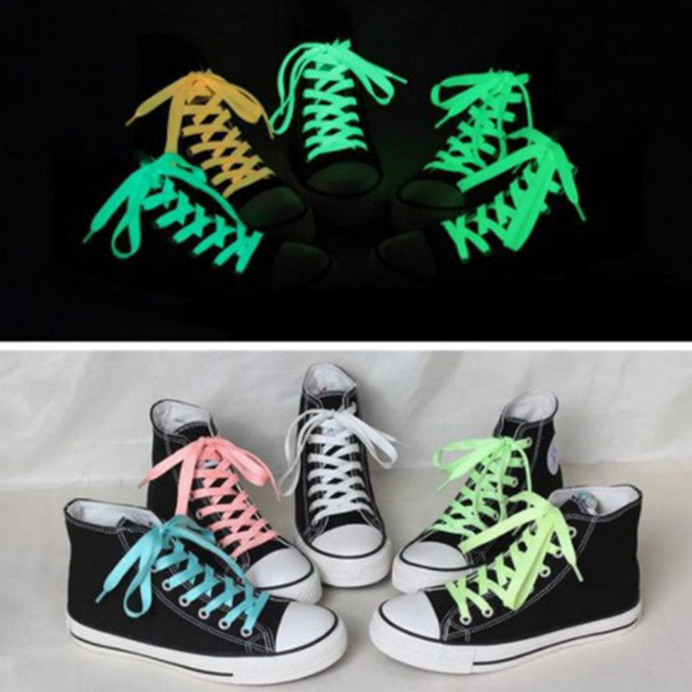 1 Pair Yellow Pink Flat Reflective Runner Shoe Laces Safety Luminous Glowing Shoelaces Unisex For Sport Basketball Canvas Shoes