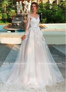 Image 4 - Lange Ärmel Hochzeit Kleid Illusion Spitze Appliques mit Gürtel Brautkleider Zurück Taste und Lace Up Vestido De Noiva Hochzeit kleid
