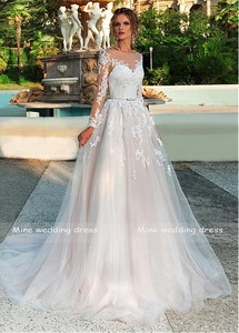 Image 4 - Long Sleeves Wedding Dress Illusion Lace Appliques with Belt Bridal Gowns Back Button and Lace Up Vestido De Noiva Wedding Gown