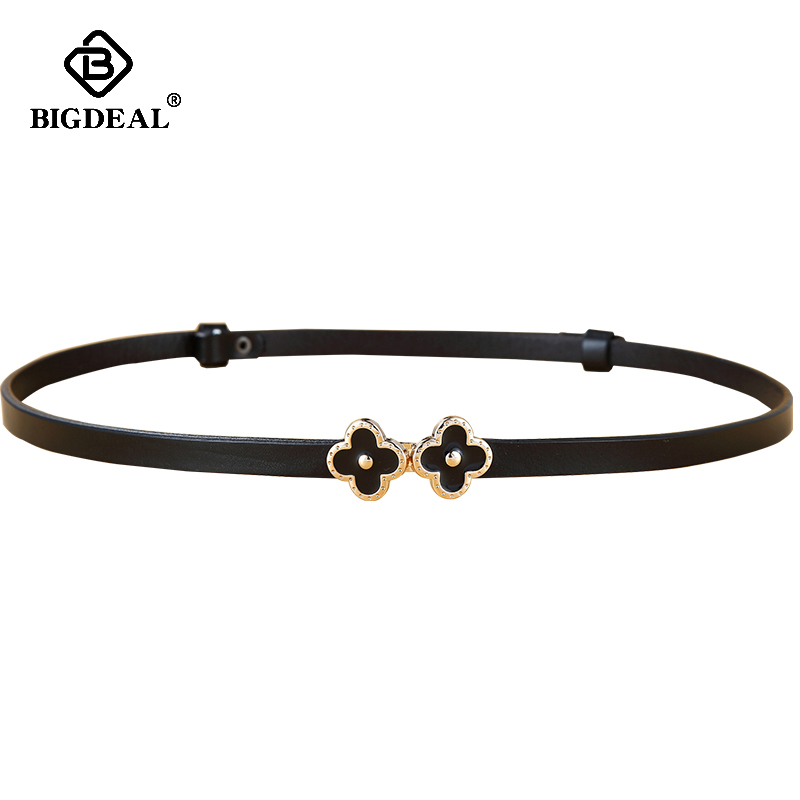 Women Cowhide Genuine Leather Belts Adjustable Thin Waistband Belt Women Female Dress Strap cinturon mujer