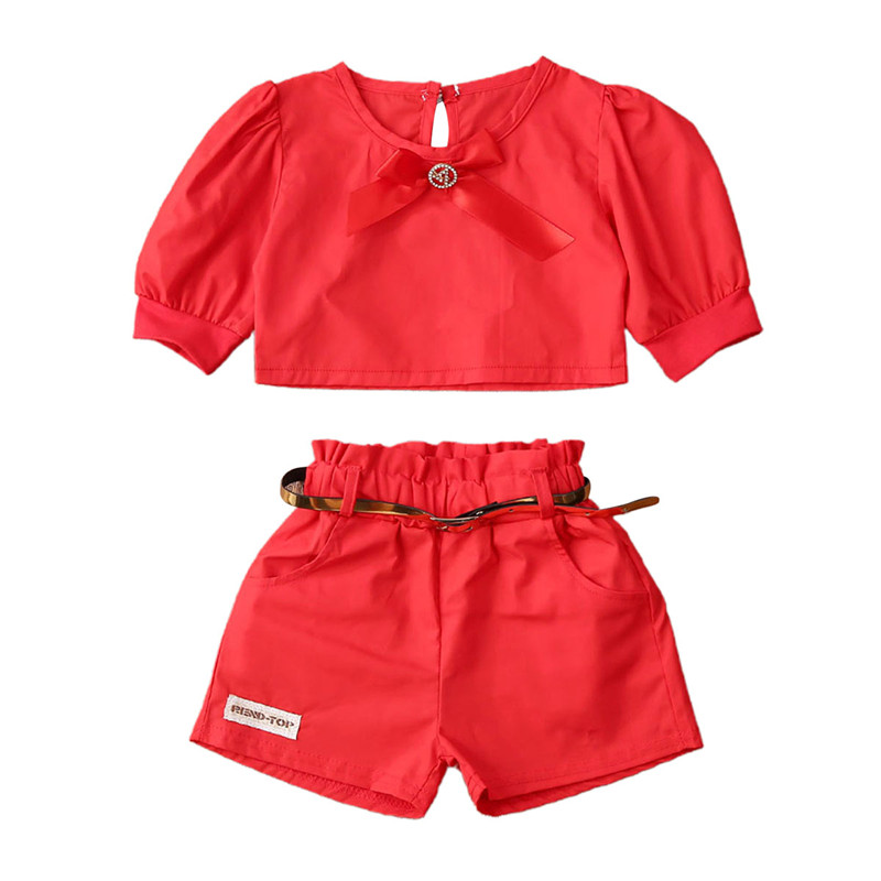 Fashion Girl Clothes 2020 Toddler Baby Girl Kid Puff Sleeves Tops Shorts Pants With Belt Summer Outfit Set Red