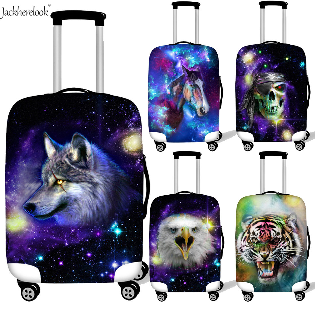 Galaxy Wolf Print Luggage Bag Protective Sheet Travel Suitcase Dust/Water Proof Cover Universe/Space Horse Skull Trolley Case