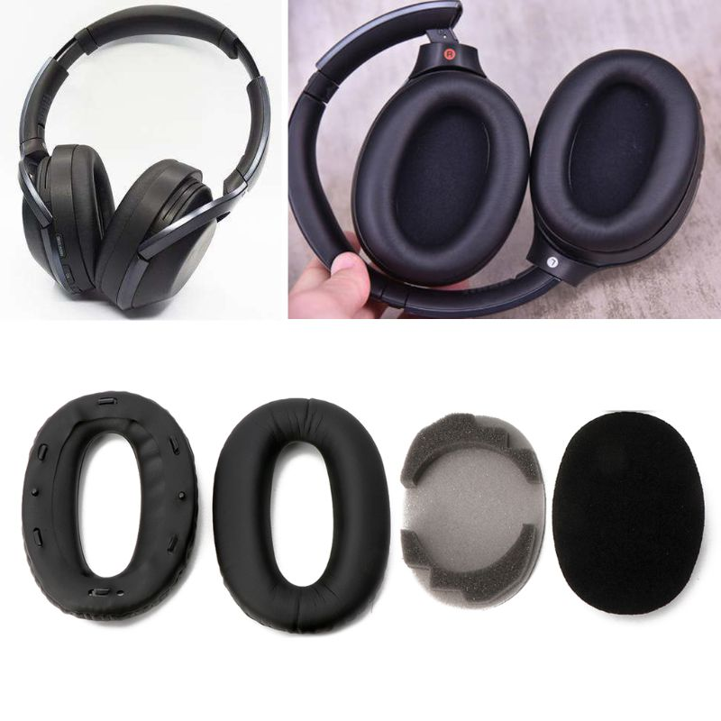 Soft Protein Leather Earpads Replacement Ear Pads Ear Cushion For SONY <font><b>MDR</b></font>-<font><b>1000X</b></font> <font><b>MDR</b></font> <font><b>1000X</b></font> WH-1000XM2 Headphones Black Hot image