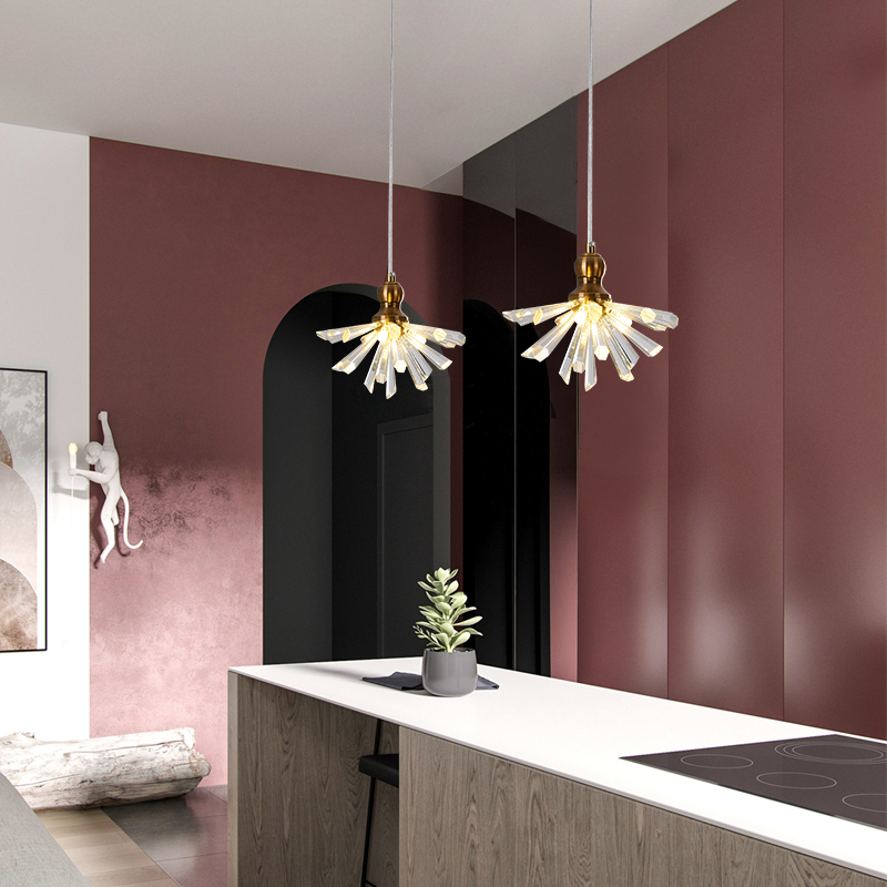 Crystal fixtures kitchen bedside light modern pendant lamp dining crystal pendant lights for bar minimalist crystal lamp bedroom