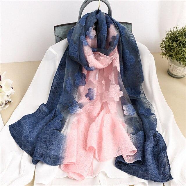 Women Silk Wool Scarf Ombre...
