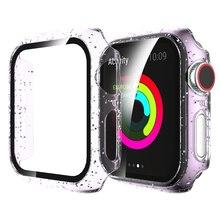 Protecteur d'écran scintillant en verre trempé, pour Apple Watch série 6 5 4 3 2 1 44mm 40mm 42mm 38mm