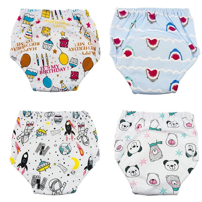 New Reusable Baby Potty Training Pants 6 Layers Waterproof Infant Underwear Panties Cotton Washable Nappies Unicorn Cloth Diaper