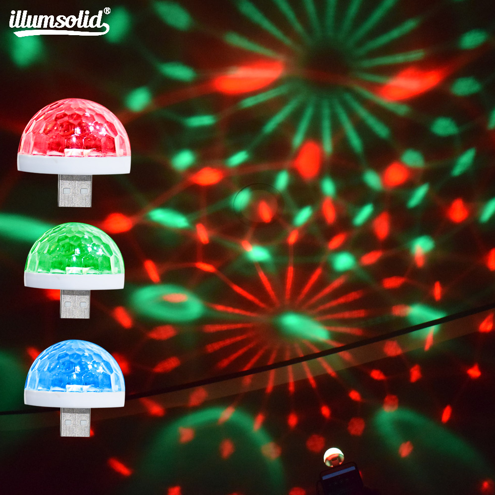USB Stage Light Disco Music Magic Ball Lamp Color Change Club Party Home Lighting Effect For Mobile Phone PC Power Bank