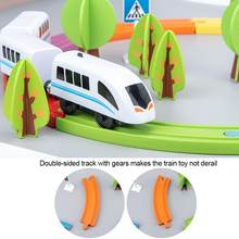 Electric Train Set Toy Train Magnetic Assembled Building Blocks Children's Wooden Educational Toys For Kids Boys Girls(China)