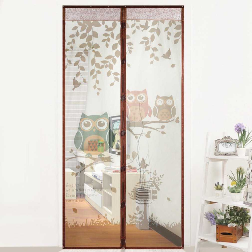 Summer Cute Cartoon Owl Pattern Magnet Mosquito Net Magnetic Anti Mosquito Curtains Door Curtains Prevent Mosquito Screen