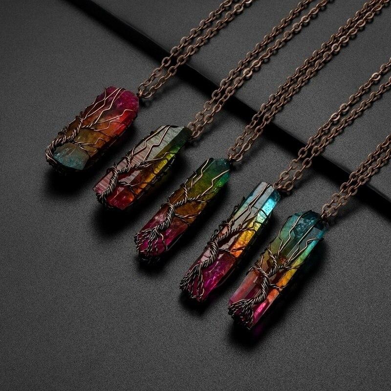 Винтажное ожерелье ручной работы из 7 Чакры, из натурального камня, с кристаллами дерева жизни, в виде радужной медной проволоки