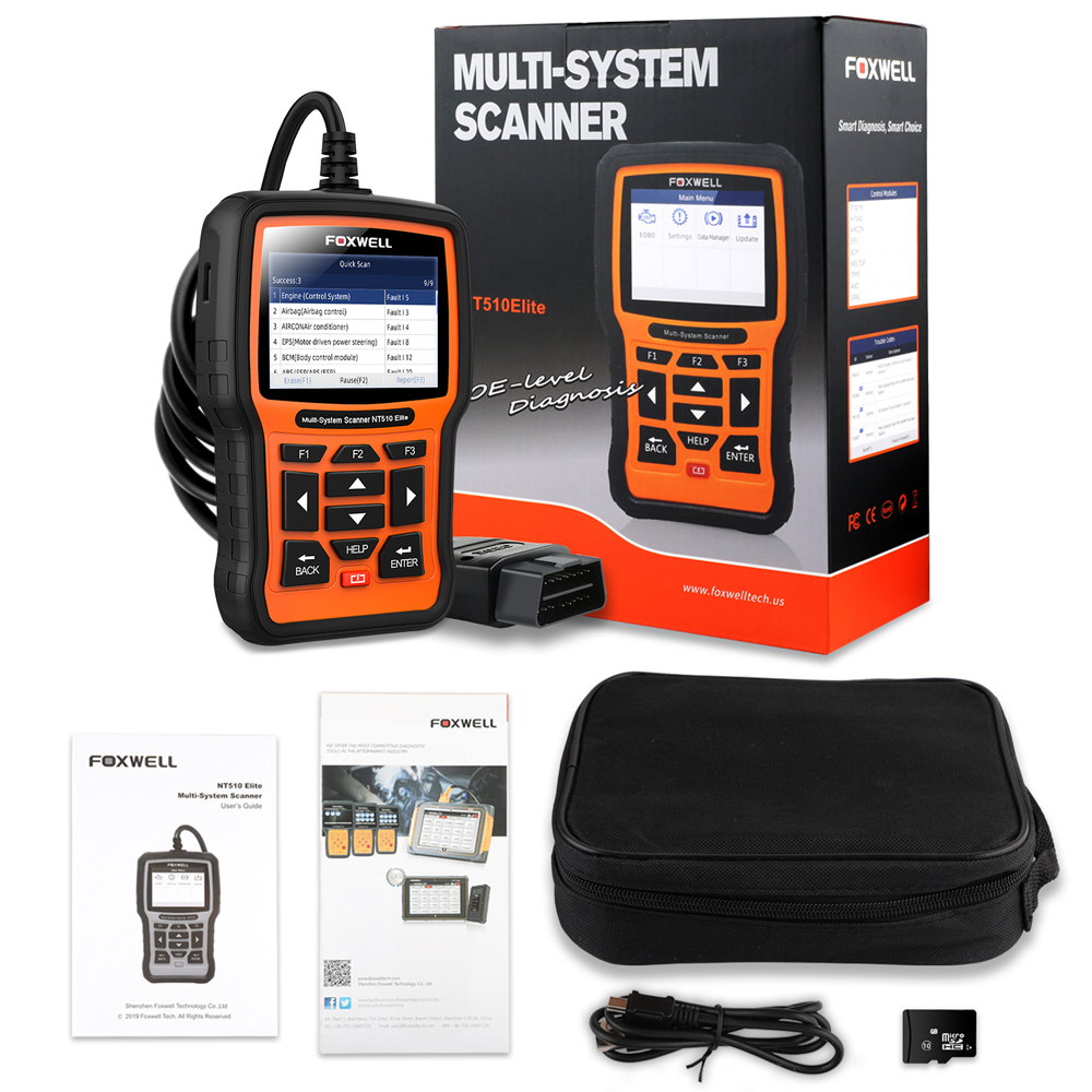 Image 5 - FOXWELL NT510 Elite Full System OBD2 Scanner ABS SAS AT Airbag DPF BMS EPB Oil Reset OBD 2 Code Reader Auto Car Diagnostic Tool-in Code Readers & Scan Tools from Automobiles & Motorcycles on