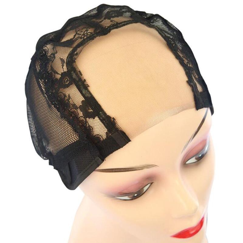5pcs Black U Part Lace Wig Cap for Making Wigs Glueless Stetch Wig Caps Weaving Cap Hair Net Mesh Cap Breathable Hairnets