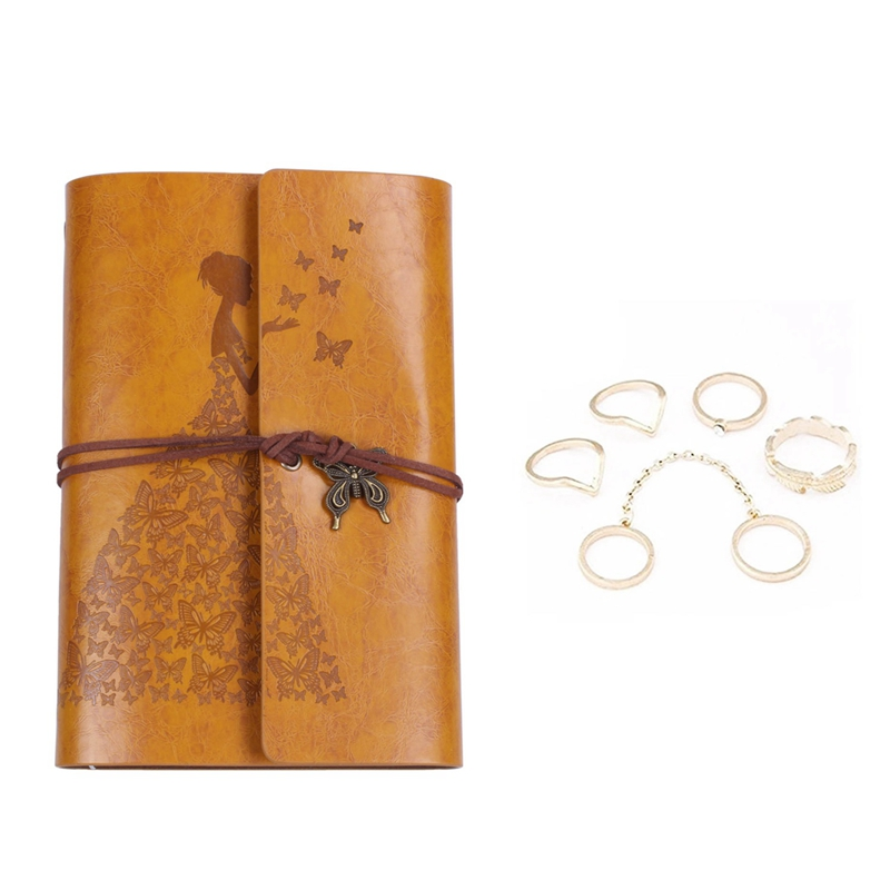 6Pcs Phalanx Rings Fleche Moon Midi with Pearl Fancy for Woman and Girl (6Pcs Gold) & 1Pcs Refillable Notebook Journals A6 Leath|Planners| |  - title=