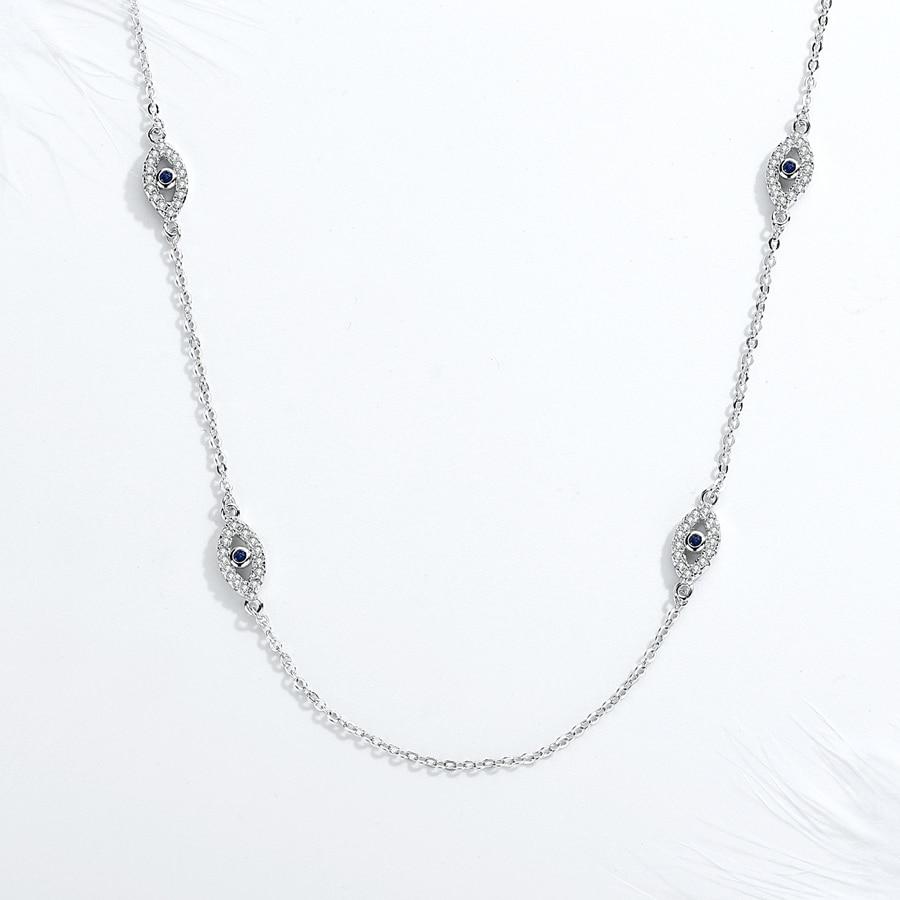 KALETINE 925 Sterling Silver Necklace Earrings Women Round Luck Evil Eye Ring Necklaces Blue Zircon Long Link Turkey Jewelry Set