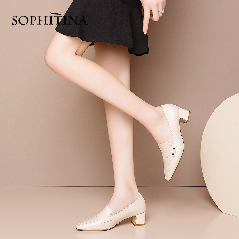 SOPHITINA Spring Autumn Women Pumps Square Toe Square Heel Med Loafers Rivet Shoes Cow Leather Office Career Fashion Pumps mo419