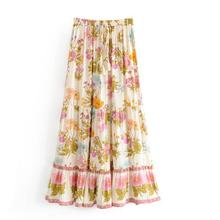 Mexican Maxi Skirt Falda Azteca Skirts Women Flare Pleated Saias Femininas Lady Tribal Print Casual Vintage Long Skirt open back tribal print maxi dress