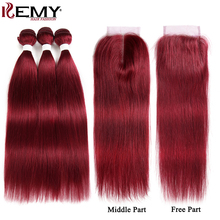 99J/Burgundy Human Hair Bundles With Closure 4x4 Red Color Brazilian Straight Weave Non-Remy KEMY