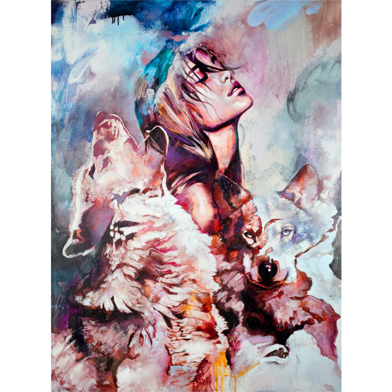 Pictures Picture By Numbers Abstraction Wolf DIY Oil Painting On Canvas Home Decoration Wall Art 40X50CM