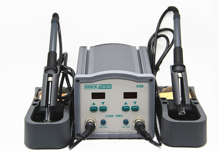 QUICK 203D High Frequency Double Station Soldering Rework Station Welding Machine Lead Free Soldering Iron Soldering Station|Soldering Stations| |  - title=