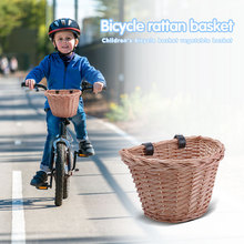 Bicycle Bucket Basket Electric Car Front Rattan Basket Waterproof Sturdy Wicker Woven Carrier Cycling Front Bags
