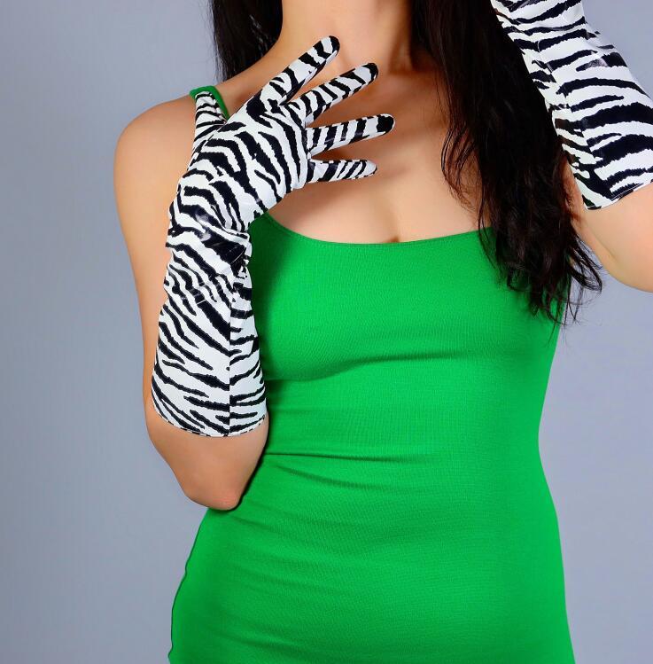 Women's Runway Fashion Zebra Stripe Print Faux Pu Leather Long Gloves Female Sexy White Black Striped Long Glove 40cm R2686