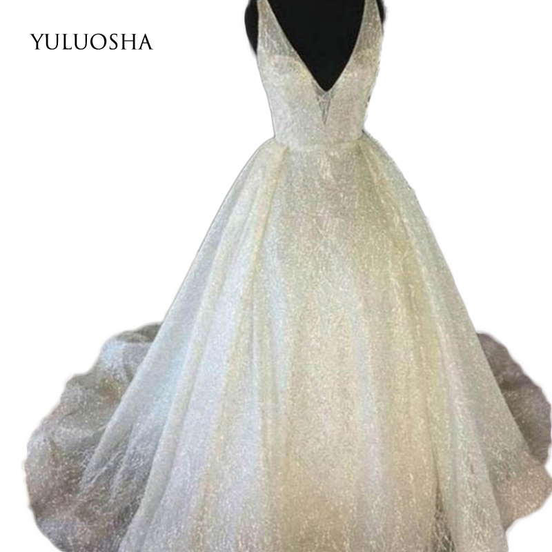 YULUOSHA A Line V-Neck Backless Sleeveless Sequins White Elegant Evening Dress Long Prom Party Formal Gown Dress Robe Ceremonie