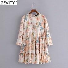 Zevity 2021 kobiety elegancki kwiat drukuj zakładka Ruffles Mini sukienka kobieta Chic rękaw 3/4 Casual prosto Vestidos DS8251