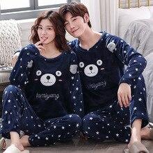 Paar Pyjama Sets Dikke Warme Winter Flanel Nachtkleding Pyjama Mannen En Vrouwen Herfst Comfort Lange Mouwen Pyjama Pak Homewear