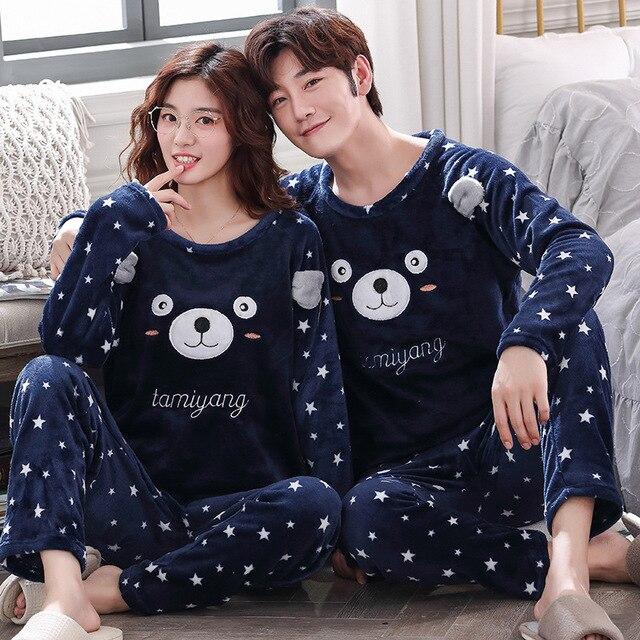 Çift pijama setleri kalın sıcak kış pazen pijama pijamalar erkekler ve kadınlar sonbahar konfor uzun kollu pijama takım gecelik