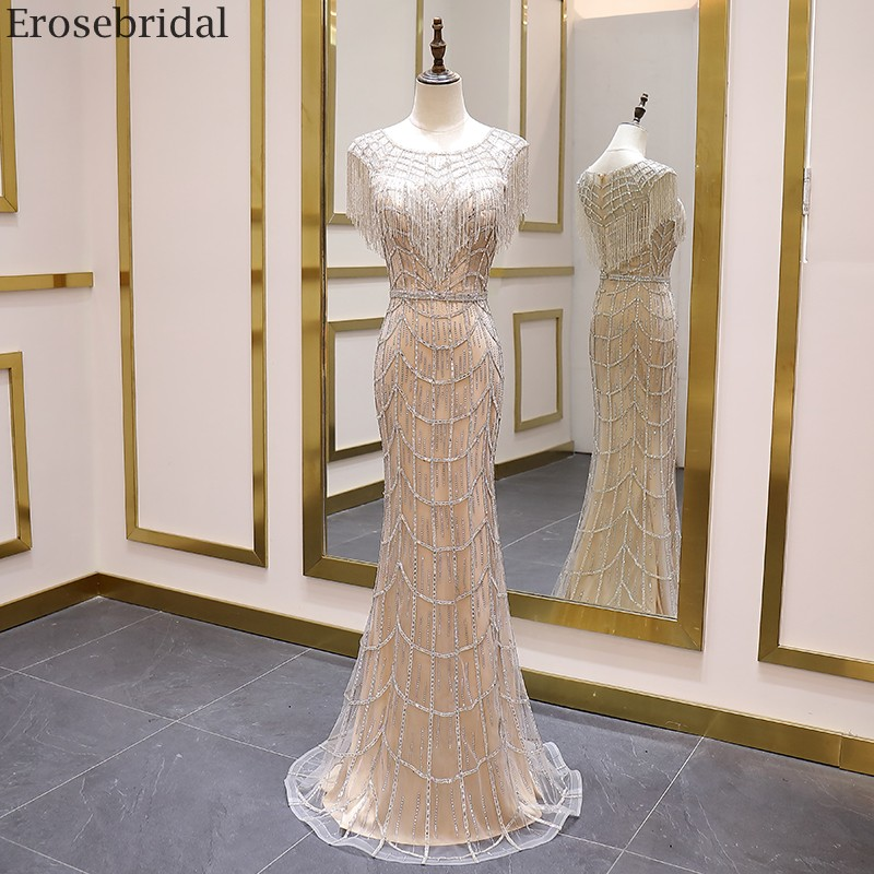 Erosebridal Luxury Crystal Beads Mermaid Prom Dress Long 2020 New Tassel Beauty Champagne Evening Dress Long Zipper Back