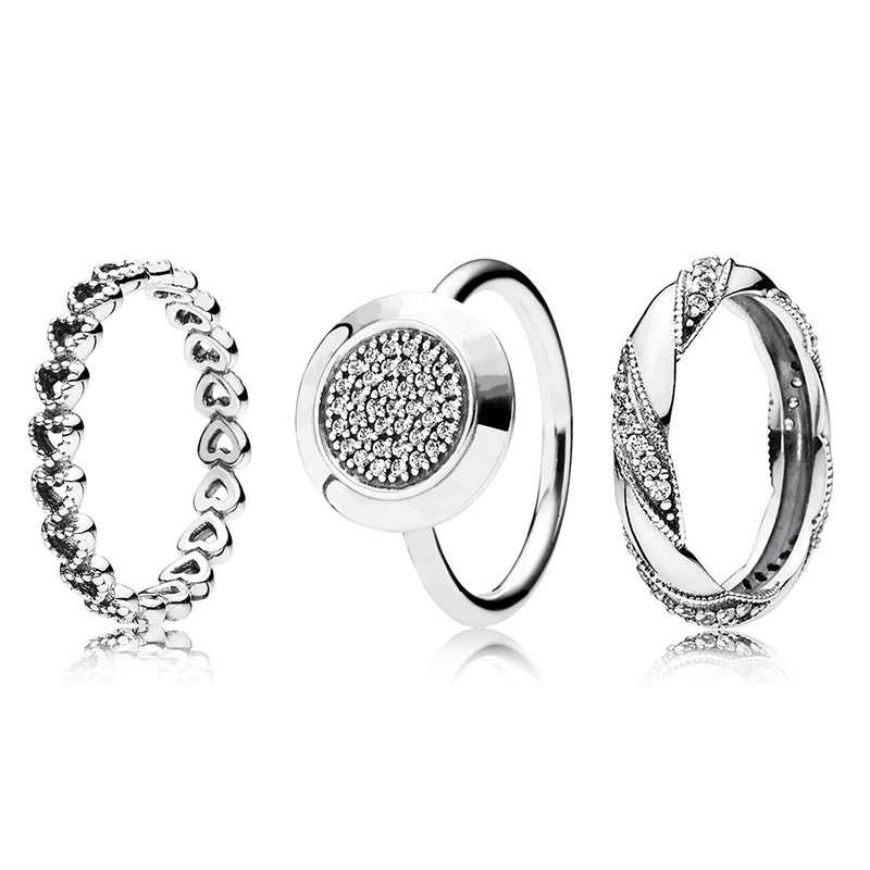3 Style New 925 Silver Ring With Hollow Love Heart Classic Crystal Round Finger Ring For Women Jewelry