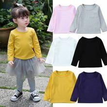 Новая удобная мягкая хлопковая одежда с длинными рукавами и круглым вырезом для новорожденных, Однотонная футболка, топы