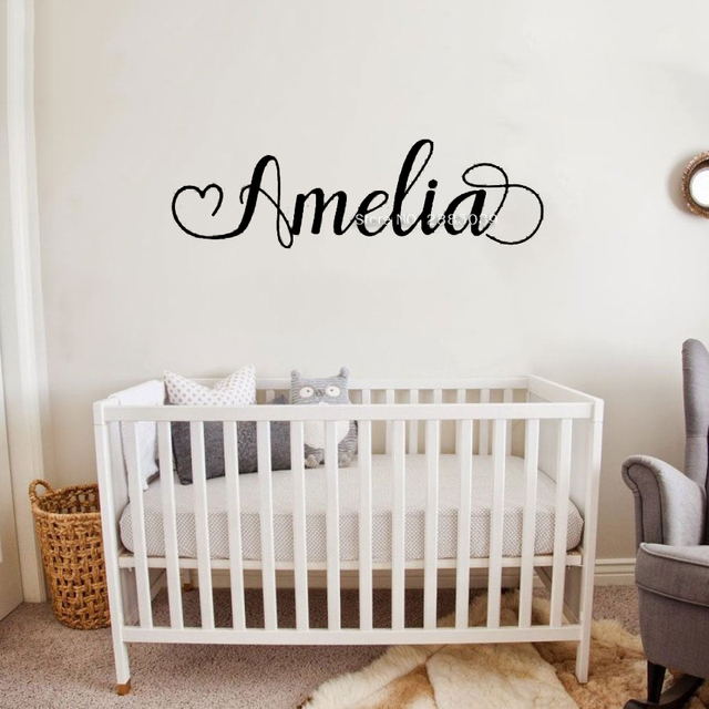 67*20cm Vinyl Lettering Name Decal Simple Custom Name Decals Baby Girl Nursery Wall Stickers Personalised Wallpapers LC1776 2