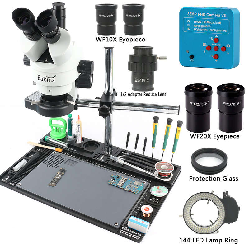 38mp HDMI Microscope Camera 3.5-90X Simul-focal Trinocular Stereo Microscope 1/2 CTV Adapter Repair Maintenance Platform