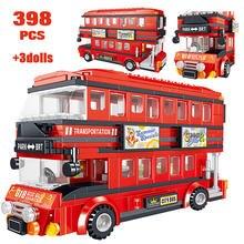 398 pces criador brt double deck ônibus blocos de construção de alta tecnologia ônibus vermelho cidade escola carro tijolos iluminação brinquedos para crianças