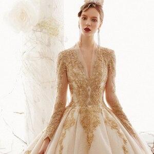 Image 4 - 2020 Custom Made Princess Wedding Dresses Vestido De Casamento Gold Appliques Beading Long Sleeve Bridal Gowns Bruidsjurken