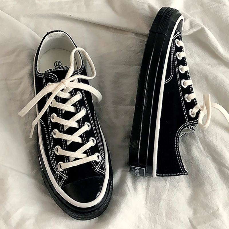 Women casual shoes Lace up Canvas sneakers High top Black shoes for women Wear resistant Female tennis 2020 New