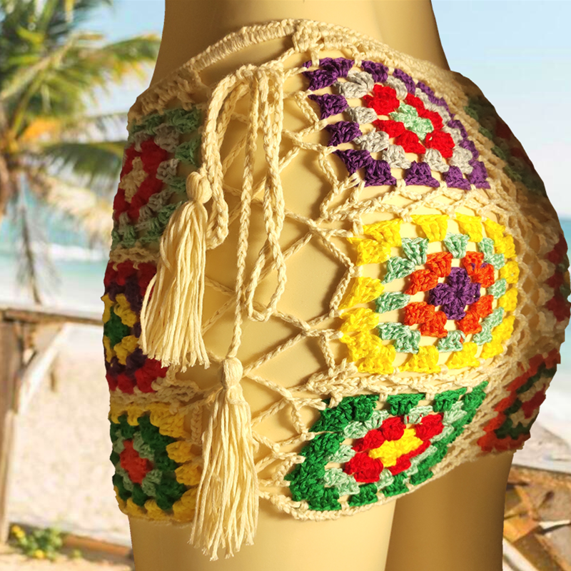 2020 Colorful Beach Skirt. Hand-made Cotton Crochet Mini Skirt With Lace-up Details On The Sides.to Keep The Skirt In Place