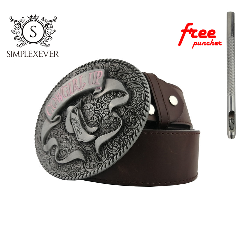 Cowgirl UP Boots Belt Buckle Accessories For Women Silver Metal Belt Buckle Suit For 3.8-4cm Width Belt