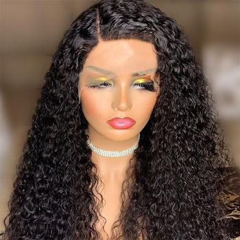 Długi perwersyjne kręcone włosy syntetyczna koronka peruka Front dla czarnych kobiet koronki peruka Front glueless odporne na ciepło naturalną linią włosów tanie i dobre opinie Humble Mountain Wysokiej Temperatury Włókna long Codziennego użytku CN (pochodzenie) 1 sztuka tylko Średni brąz 180